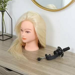 Real Human Hair Salon Hairdressing Training Head Long Mannequin Doll + Clamp