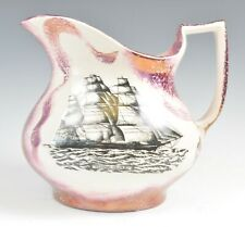 Sunderland Style Lustre Jug Depicting Flying Cloud Clipper Speed Record 1854
