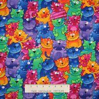 Animal Fabric - Rainbow Happy Cats Packed Gail Cadden - Timeless Treasures YARD
