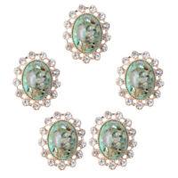 5x Oval Alloy Acrylic Crystal Flatback Buttons Embellishment for DIY Craft