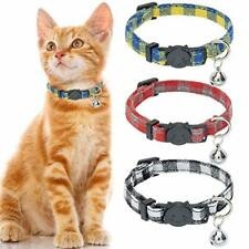 Cat Collar with Bell - 3 Pack Plaid Breakaway Cat Collar Set, Yellow