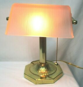 Bankers Lamp Pink Frosted Glass & Brass Vintage desk table top