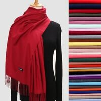 Women Men Winter Warm Plain Solid Cashmere Wool Wrap Scarf Scarves Lady Shawls