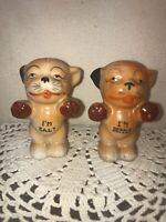 Vtg JAPAN 1940-50's BONZO Cat Dog Niagara Falls Souvenir I'm Salt & Pepper Set