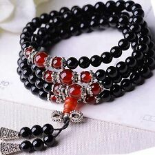 6mm Stone Buddhist Black Obsidian Prayer Beads Mala Bracelet /Necklace + Pouch