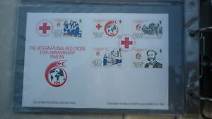 ISLE OF MAN STAMP ISSUE FDC, 1989 125th ANNIV OF THE RED CROSS SET OF 5 STAMPS