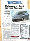 VW Volkswagen Lupo 4 Cyl. 1999 Germany Allemagne Car Auto Voiture FICHE FRANCE