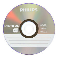 10 Philips Logo Blank DVD+R DVDR Dual Double Layer DL Disc 8.5GB Paper Sleeves
