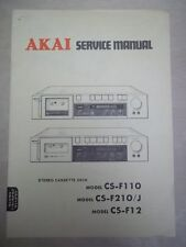Vtg Akai Service/Repair Manual~CS-F110/F210/J/F12 Cassette Tape Deck~Original
