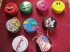 "Set of 2 Metal Classic YoYo 2"" Kids Toys US Flag Pirate Baseball Globe Smile Zoo"