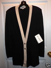 St. John Knits by Marie Gray Black & Tea Rose 2 Button Cardigan Sweater 10 NOS