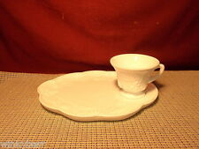 Vintage Colony Glass Harvest Milk Glass Pattern Snack Plate With Cup