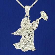 W Swarovski Crystal Angel Of God Guardian Cupid Playing a Trumpet Pendant