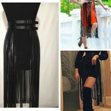 Sexy Women PU Leather Waistband Waist Belt Skirt Harness Tassel Goth Fringe Club