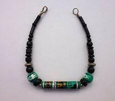Armband Türkis Schwarz Peruperlen 18,5 cm Holz und Ton Perlen-Laden