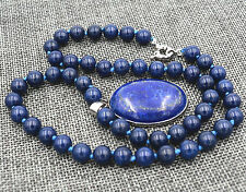 "8mm Blue Egyptian Lapis Lazuli Gemstone Beads Oval Pendant Necklace 18"" AAA"