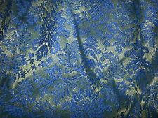 """New listing blue green flocked floral fabric Curtain Drapes Insulated 26x83"""" 1 panel Vintage"""