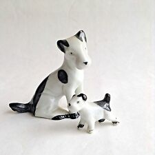 Vtg Miniature Jack Russell Terrier Dog Porcelain Figurines Germany Black/White
