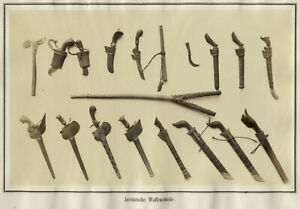Tribal Weapons from Java Indonesia Vintage Print NOVARA Expedition 1857-59