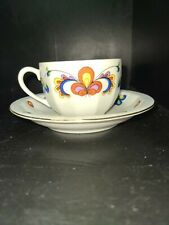 Porsgrund FARMERS ROSE Demitasse Ribbed gold trim Cup & Saucer 1970