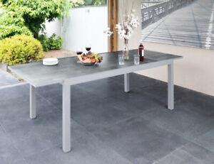 Greemotion Monza Tisch Gartentisch 160/240 cm Ausziehtisch Keramik Optik silber