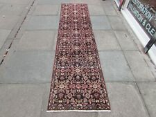 Vintage Traditional Hand Made Oriental Blue Wool Long Narrow Runner 280x70cm