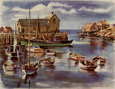 JOE FEHER 1948 - NEW ENGLAND HARBOR 2 - 12x16 Print Ex UAL