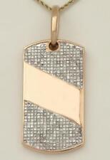 """MENS 14k ROSE GOLD INVISIBLE SET 4.00ct SQUARE DIAMOND DOG TAG PENDANT 2.04"""""""