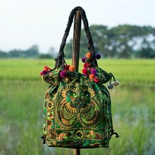 Pom Pom Green Bird Tribal Tote Bag with Draw String Thai Hmong Embroidered