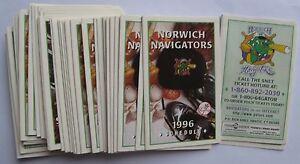 (46) 1996 Norwich Navigators Pocket Schedules (N.Y. Yankees affiliate)