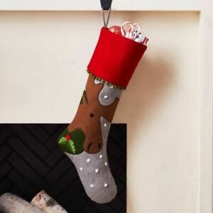 Crate & Barrel Holiday Moose Stocking Felt Grey Red Brown Green, New!