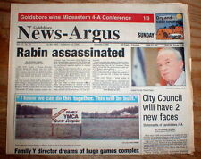 1995 newspaper Israel PRIME MINISTER RABIN is ASSASSINATED by Jewish extremist