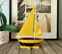 Handmade Wooden Pond Yacht Sailboat Model Nautical Decor