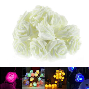 Rose Flower Light Fairy String Wedding Party Christama Festival Decorations Q