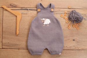 Strampler kurz Romper Baby Trägerhose kurz gestrickt Wunschfarbe 50-86 Schaf