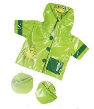 "8"" GREEN FROG LOVELY RAINCOAT COAT WITH BOOTS FITS 8""-10"" (25CM) TEDDY BEAR"