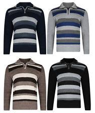 Acrylic Zip Neck Regular Striped Jumpers & Cardigans for Men