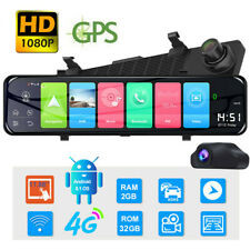 "Hd 12"" 4G Android 8.1 Wifi Dual Lens Gps Rearview Mirror Dash Cam Adas Recorder"