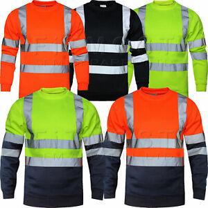 Hi Viz Vis High Visibility Crew Neck Sweatshirt Work Safety Fleece Jumper S-5XL