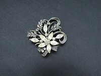 Antique Silver Tone Rhinestone Ornate Detailed Brooch
