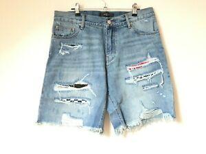 Original Amiri Bandana Destroyed Blue Denim Shorts 34