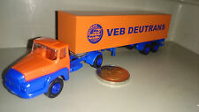 DDR Ostauto 1:87 VEB Deutrans orange Unic Szm 2/2 Koffer LKW Plaste Modell RAR!