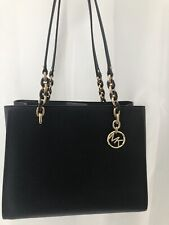 MICHAEL KORS  LARGE TOTE SHOULDER BAG MK BLACK SIGNATURE LEATHER
