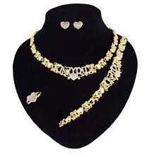 Hugs & Kisses I Love You Teddy Bear Heart 18k Gold Necklace with Bracelet Set#36
