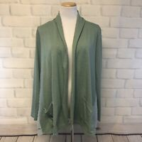Logo By Lori Goldstein Lounge Womens S Sage Green Open Cardigan w/Pockets