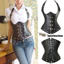 Women Faux Leather Sexy Black Steel Bone Corset Top Halter Strap Steampunk L