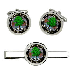Anderson Scottish Clan Cufflinks and Tie Clip Set