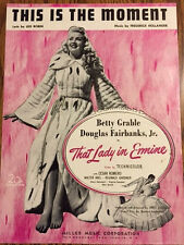 Art Nouveau - This Is The Moment - Sheet Music (1948} with Betty Grable on cover