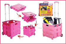 FOLDING SHOPPING TROLLEY 25KG STORAGE TEACHER BOX CRATE CAR VAN CAMPING NEW PINK