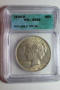 1934 D Peace Silver Dollar ICG AU55 VAM 3 Top 50